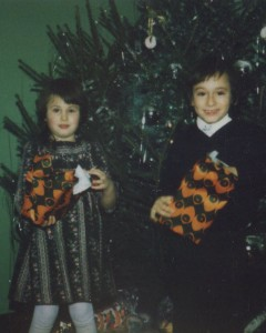 My favourite dress my mum made me -  I suspect she knitted my bro's jumper too!